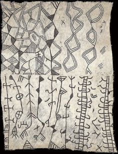 ymutate:  BARK CLOTH Painted bark cloth Ituri pygmy Congo c.1950  source:joss graham