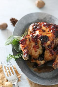 Game Hens with Cranberry, Chipotle, Adobo Sauce, perfect for a traditional and old fashioned Thanksgiving meal!