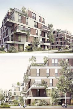 Design of the new Hohenlind housing estate in Cologne-Lindenthal - Realization study for the design of a residential area with twelve apartment buildings in Cologne. Concept Board Architecture, Brick Architecture, Residential Architecture, Architecture Details, New Housing Developments, Great Buildings And Structures, Facade Design, Construction, Hotel Floor Plan