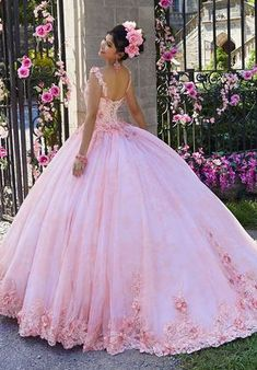 Get the beautiful Crystal Beaded Floral Appliqué Quinceañera Dress by Morilee 34022 and other amazing Morilee quinceanera dresses on Mi Padrino. Pretty Quinceanera Dresses, Cute Prom Dresses, Sweet 16 Dresses, Pretty Dresses, 15 Dresses Pink, Sparkly Dresses, Quinceanera Party, Pink Gowns, Disney Dresses