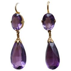 Victorian Amethyst Earrings | From a unique collection of vintage drop earrings at https://www.1stdibs.com/jewelry/earrings/drop-earrings/