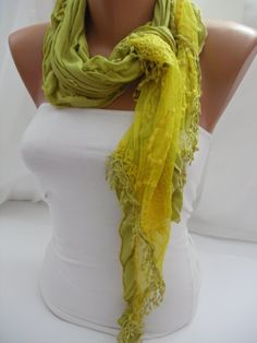 Women Yellow Scarf - Headband - Cowl with Lace Edge