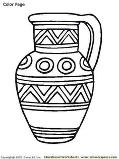 De colorat Coloring page in Romania Colouring Pages, Coloring Books, Coloring Letters, Hanukkah Crafts, Indian Crafts, Greek Art, Pottery Designs, Autumn Activities, Pottery Painting