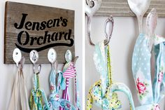 spoons hooks to hang a vintage apron.  cute!