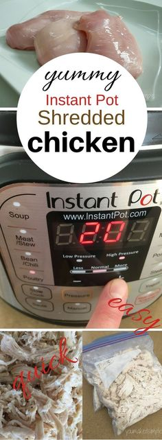 """Shredded chicken is one of my """"go tos' when it comes to fixing dinner. You can use it in so many recipes. I found a way to make up a batch of yummy, savory shredded chicken in a SNAP using the INSTANT POT. I get so excited about this little gadget, (I use it everyday), …"""