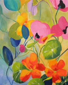Nasturtiums & Poppies, painting by artist Kay Smith