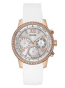 White and Rose Gold-Tone Feminine Classic Sport Watch | GUESS.com