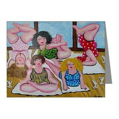 Renie Britenbucher .... Yoga Divas Whimsical Folk Art Fun Blank Note Cards Pk of 10.  via Etsy.