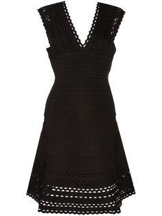 HERVE LEGER V-Neck Flared Dress. #herveleger #cloth #dress