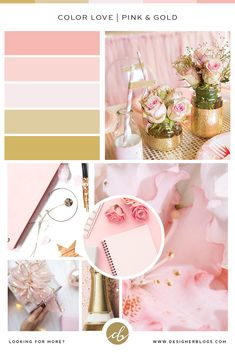 Pink and gold color palette inspirations Gold Color Palettes, Blog Planner, Pink And Gold, Color Schemes, Inspiration, Biblical Inspiration, Colour Schemes, Color Palettes, Inhalation