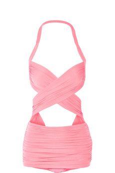 Norma Kamali XO Bill Mio ruched cutout swimsuit | NET-A-PORTER