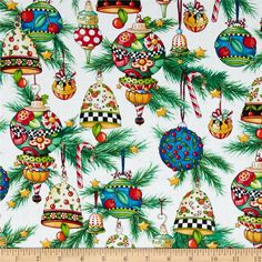 Trimming the Tree Ornaments White from @fabricdotcom  Designed by Mary Engelbreit for Quilting Treasures, this fabric is perfect for quilting, apparel and home décor accents. Colors include red, blue, yellow, grey, green, and white.