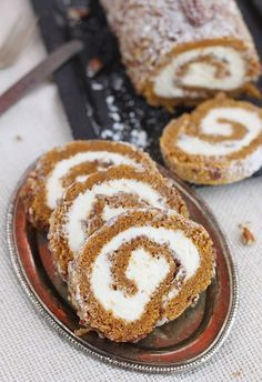 A classic fall dessert pecan pumpkin roll cake with smooth cream cheese filling is a must at our Thanksgiving table.Source From classic fall dessert pecan pumpkin roll cake. Pumpkin Recipes, Fall Recipes, Sweet Recipes, Holiday Recipes, Fall Desserts, Just Desserts, Delicious Desserts, Yummy Food, Pumpkin Roll Cake