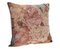 Cuscino arredo in cotone Carole marrone/rosa - 45x45x10 cm
