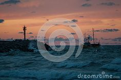 Sea Fishing boat in Ustka with sunset/sunrise.
