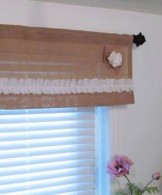 burlap valance window treatments | ... ONE Burlap Ruffled Valance with Rose Rustic Curtain Window Treatments