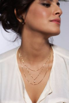 18k Gold Over Sterling Silver Multi Layered Freshwater PASTEL PALE PINK Drop Pearl necklace - Handmade Triple chain. $83.00, via Etsy.