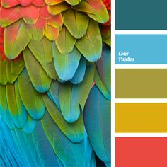 """Combination of natural saturated shades of blue, dark turquoise, coral-red, dark-pear and brass-olive composes a bright, but not tiring palette. This color scheme can be used in the design of Hawaiian-style parties and parties in the style of """"pop art"""". It is good for decorating of children's rooms and family holidays."""