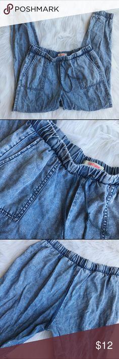 Refuge Distressed Denim Joggers Pants M Size M.  Drawstring waist with elastic at waist and cuffs. B2 refuge Pants Track Pants & Joggers