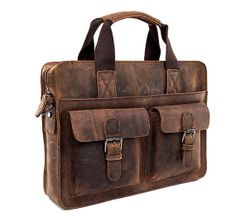 14 Brown Crazy horse leather bag/ Men's leather by weiweihe