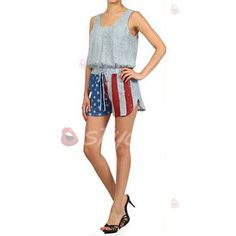 White, L Womens Jumpsuits,Summer Patriotic Printed American Flag Striped Romper Playsuit Axchongery