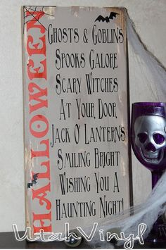 Hand Painted Halloween Sign Spooky Primitive Halloween sign with Poem