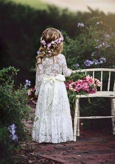 Vestido de la muchacha de flor del cordón cordón de Marfil