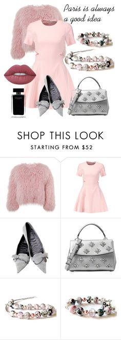 """""""Parisian Girl"""" by mariannemerceria ❤ liked on Polyvore featuring Charlotte Simone, Elizabeth and James, Gucci, Michael Kors, Lime Crime, Narciso Rodriguez, Pink, paris and MarianneMerceria"""