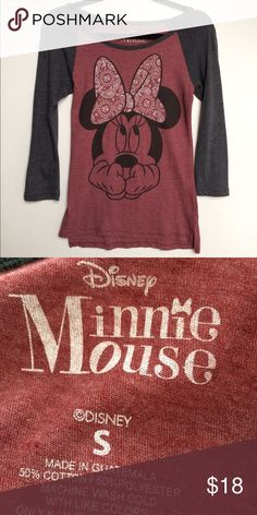 Disney Minnie Mouse Baseball Shirt Adorable!  Like new - worn once. No flaws, perfect condition!  Maroon and gray. Size Small. No trades. Disney Tops Tees - Long Sleeve