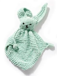 Bunny Blanket Buddy FREE crochet pattern by Lion Brand Yarn. This cuddly bunny blanket buddy is an easy gift for a baby or child. Crochet Lovey, Crochet Gratis, Crochet Bunny, Knit Or Crochet, Baby Blanket Crochet, Crochet For Kids, Crochet Toys, Free Crochet, Crochet Lion