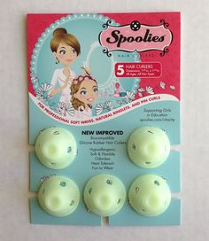 Spoolies Hair Curler - Hello Glow - Glow-in-Dark   Create Classic Curls with a Modern Twist. Spoolies, the curlers millions loved in the 50s are easy to use, fun to wear, and create a variety of hairstyles - such as Loose Waves, Spiral Ringlets, and Classic Pin Curls. Simply wrap the hair around the stem and fold the top over! Spoolies create the size of curl similar to a 3/4 inch to 1½-inch curling iron - but No Heat or Chemicals required.