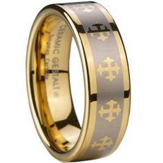 Yellow Gold Tungsten Carbide Ring. Celtic Cross Design. Comfort Fit. 8mm width. (avail. Sizes 5 to 14) Ceramic Gestalt®. $39.95. Flawless pure Tungsten Carbide with 18kt Gold Plating.. Original CeramicGestalt® Brand.. Timeless Wedding Band Design. Comfort Fit.. 100% Satisfaction Guaranteed.