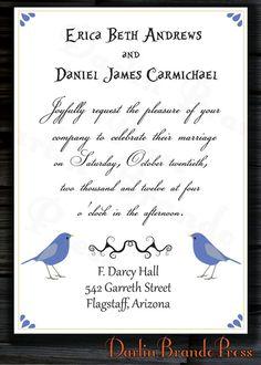 Love Birds Wedding Customizable/Printable Invitation by DarlinBrandoPress