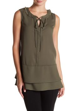 Sleeveless Ruffle Tunic Blouse by Pleione on @nordstrom_rack