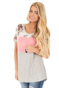 Blush Short Sleeve Color Block Top with Floral Contrast front close up