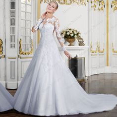 noivas renda 2016 A Line Wedding Dresses Sexy Back Long Sleeve Lace Wedding Dresses