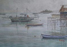 Belitung Island, Fishing boat. ( donny prawira and his bad watercolor arts )