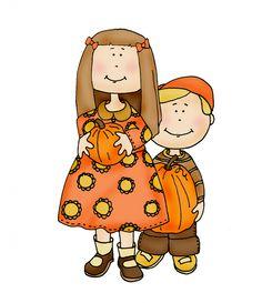 Kids with Pumpkins color   Dearie Dolls Digi Stamps