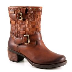This double buckle harness boot has a woven leather top while the upper is burnished leather. A low wide heel provides plenty of stability.woven topSpainish Lea