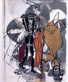 Dionyssos tumbir: Georges Braque ( 1882-1963 ) ,  Bullfight scène...