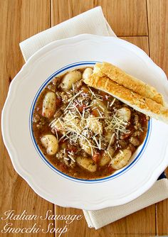 Italian Sausage Gnocchi Soup and 31 Days of Fall and Winter Soups on Frugal Coupon Living plus Gourmet Grilled Cheese. Soup Recipes, Dinner Recipes, Cooking Recipes, Yummy Recipes, Fall Recipes, Gnocchi Soup, Pasta Soup, Winter Soups, Recipes