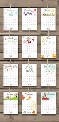 Calendario imprimible 2017 2017 pared por Anietillustration en Etsy