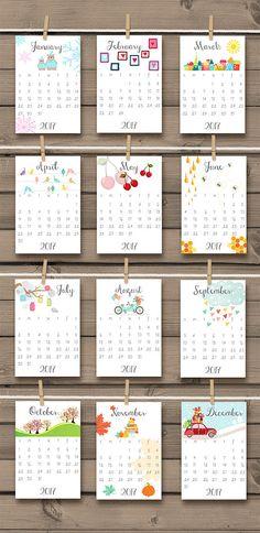 Calendario imprimible 2017 2017 pared por Anietillustration en Etsy