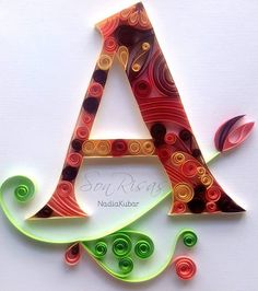 letra A quilling paper