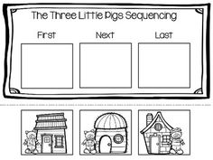 Three Little Pigs Sequencing 3 Little Pigs Activities, Fairy Tale Activities, Book Activities, Teaching Resources, Preschool Literacy, Preschool Lessons, Kindergarten Activities, Sequencing Worksheets, Story Sequencing