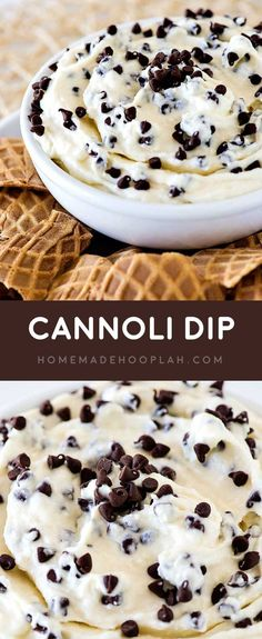 Cannoli Dip! An easy cannoli dip (that doesn't taste like cream cheese!) mixed with delicious mini chocolate chips and served with broken waffle cones for dipping.   HomemadeHooplah.com