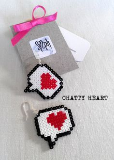 Earrings made of Hama Mini Beads Chatty Heart by SylphDesigns, €7.00