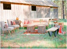 backyard rustic wedding seatiung | great rustic outdoor chill out zone ---we can use some of the logs as ...