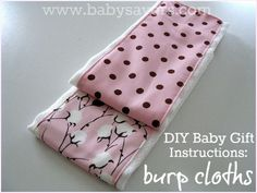 Great list of tutorials for making homemade burp cloths. Perfect DIY baby gifts!