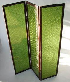 Mid-century green acrylic room divider screen.
